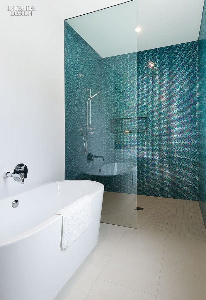 A child's bathroom features glass mosaic tile. Photography by Steve Tsai.