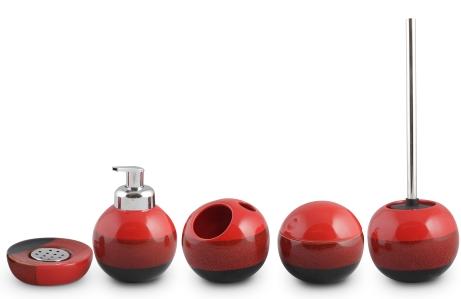 Set accesorii baie rotunde culoare rosie