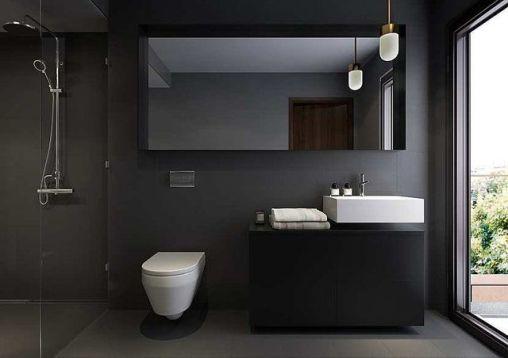 baie fundal negru sanitare albe