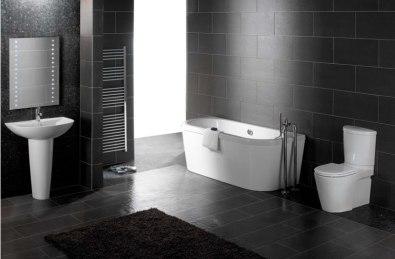 Baie neagra obiecte sanitare albe