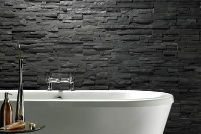 Baie perete piatra decorativa negru mat