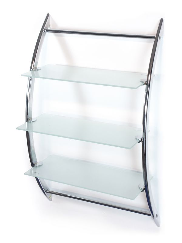 Etajera baie cu trei rafturi sticla