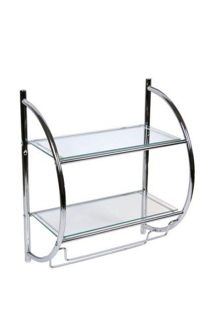 Etajera baie cu doua rafturi din sticla si suport de prosoape