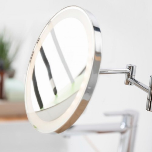 oglindă cosmetică cu lupă, iluminare LED și stativ retractabil