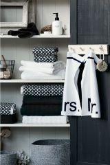 Accesorii baie alb negru design geometric scandinav