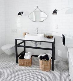 Aplice negre baie design scandinav alb