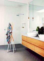 Baie design scandinav textile accente culoare