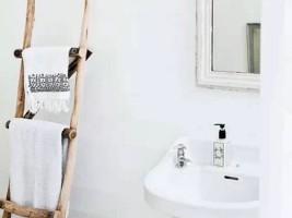 Scara lemn suport prosop baie design scandinav