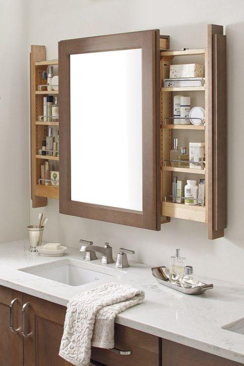 Dulap depozitare baie cu rafturi culisante si oglinda