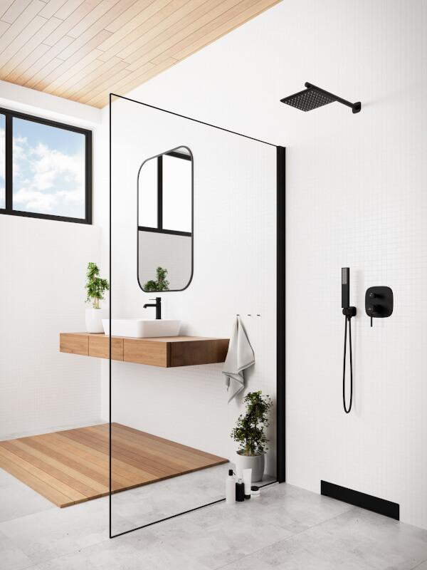 Baie design minimalist alb si lemn natur cu baterii sanitare negru mat