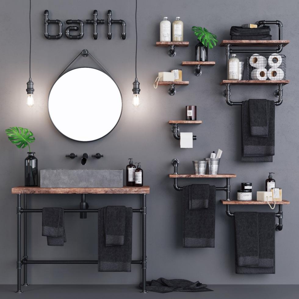 Baie design industrial loft gri lavoar ciment tevi negre